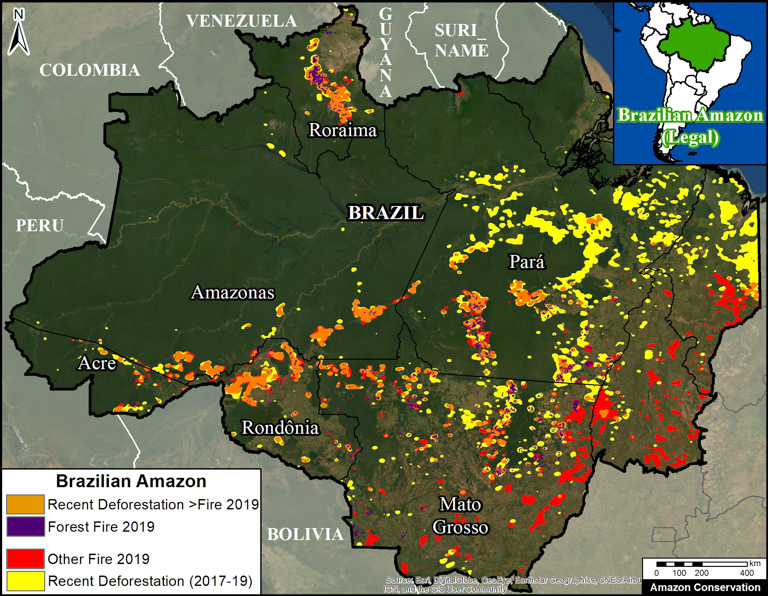 Map showing deforestation and fires in 2019. Image courtesy of MAAP with data from UMD/GLAD, NASA (MODIS), PRODES and Hansen/UMD/Google/USGS/NASA.