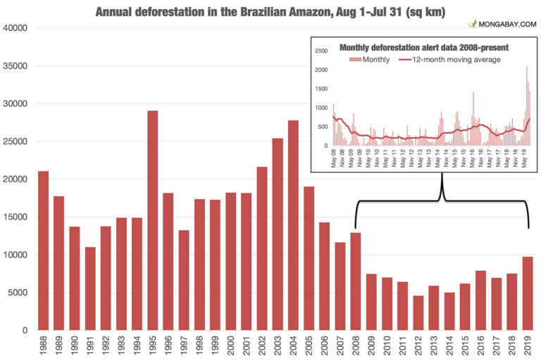Short-term and long-term deforestation data in the Brazilian Amazon, according to INPE. The short-term data comes from INPE's DETER deforestation detection system, while the long-term data comes from INPE's PRODES system.