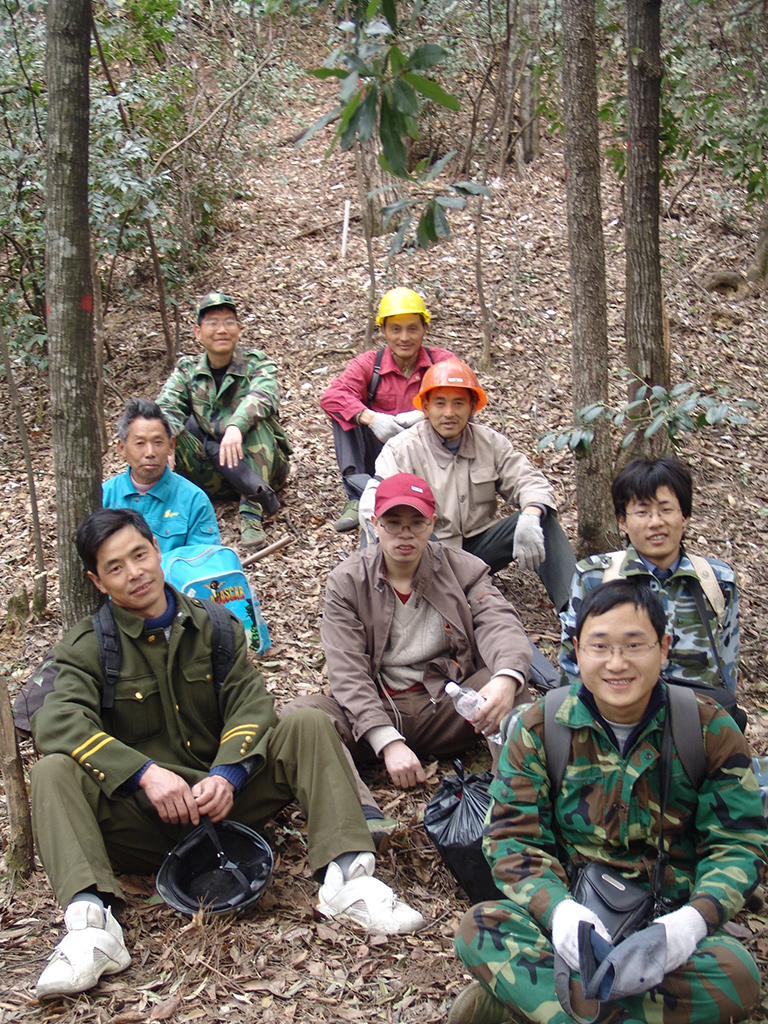 Researchers taking a break between experiments in Gutianshan National Nature Reserve. Photo courtesy of Lei Chen.