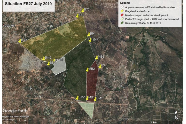 Map showing progressive de-gazetting of Forest 27.