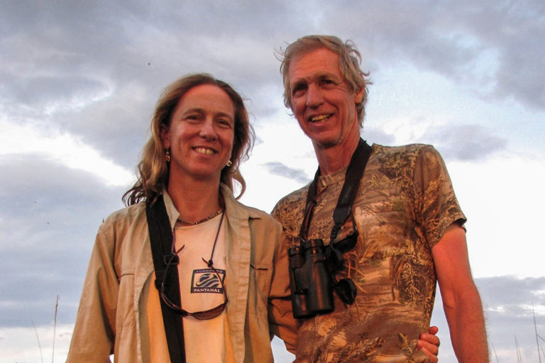 Sue with George Powell in Botswana.