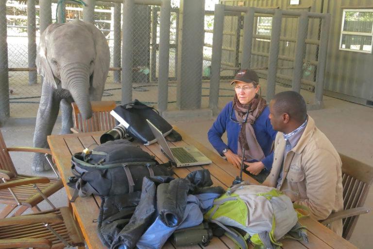Sue in Abu Camp, Botswana.
