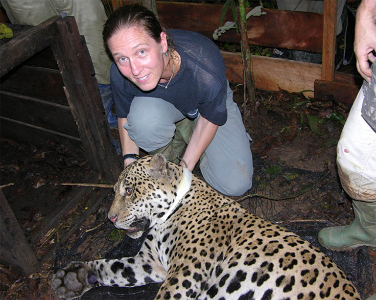 Sue with a jaguar. Courtesy of George Powell.