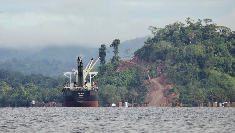 A ship ready to load the logs for export at the Topol Log Pond in Papua New Guinea