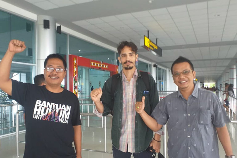 Aryo, Phil, Parlin at Palangkaraya Airport on January 31, 2019.