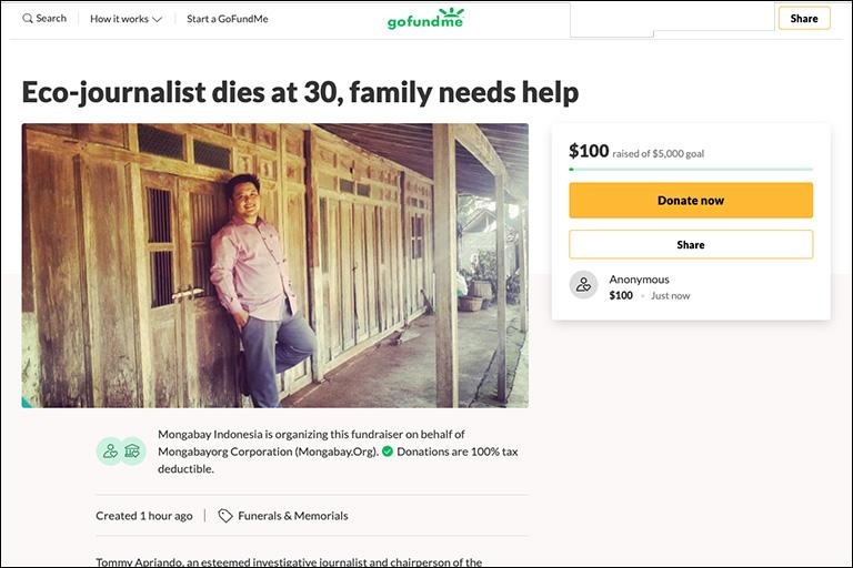 GoFundMe campaign for Apriando's family