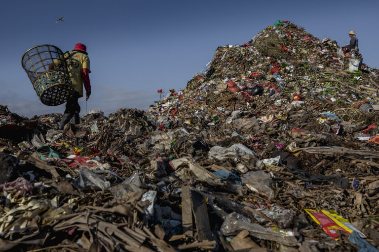 A trash picker looks for recyclable plastics at a waste dump in Bali. Image by Jonas Gratzer for Mongabay.