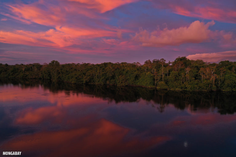 Sunset reflected in a blackwater lake in the Amazon. Photo by Rhett A. Butler for Mongabay.