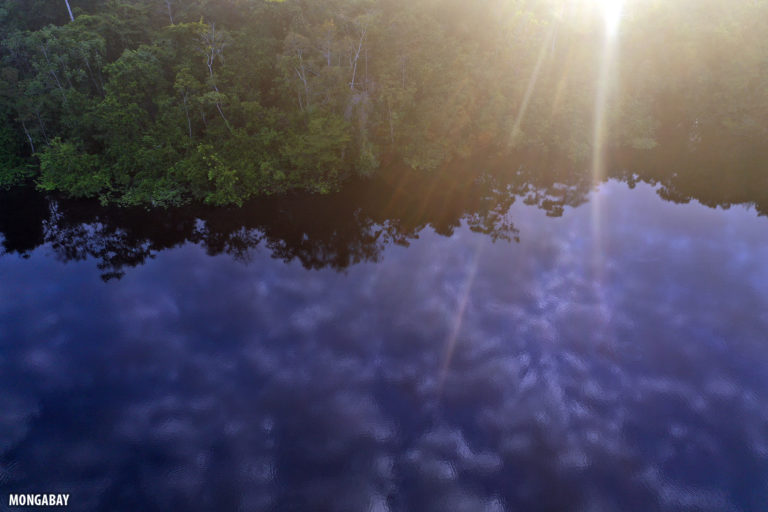 Blackwater lake in the Peruvian Amazon at daybreak. Photo by Rhett A. Butler for Mongabay.