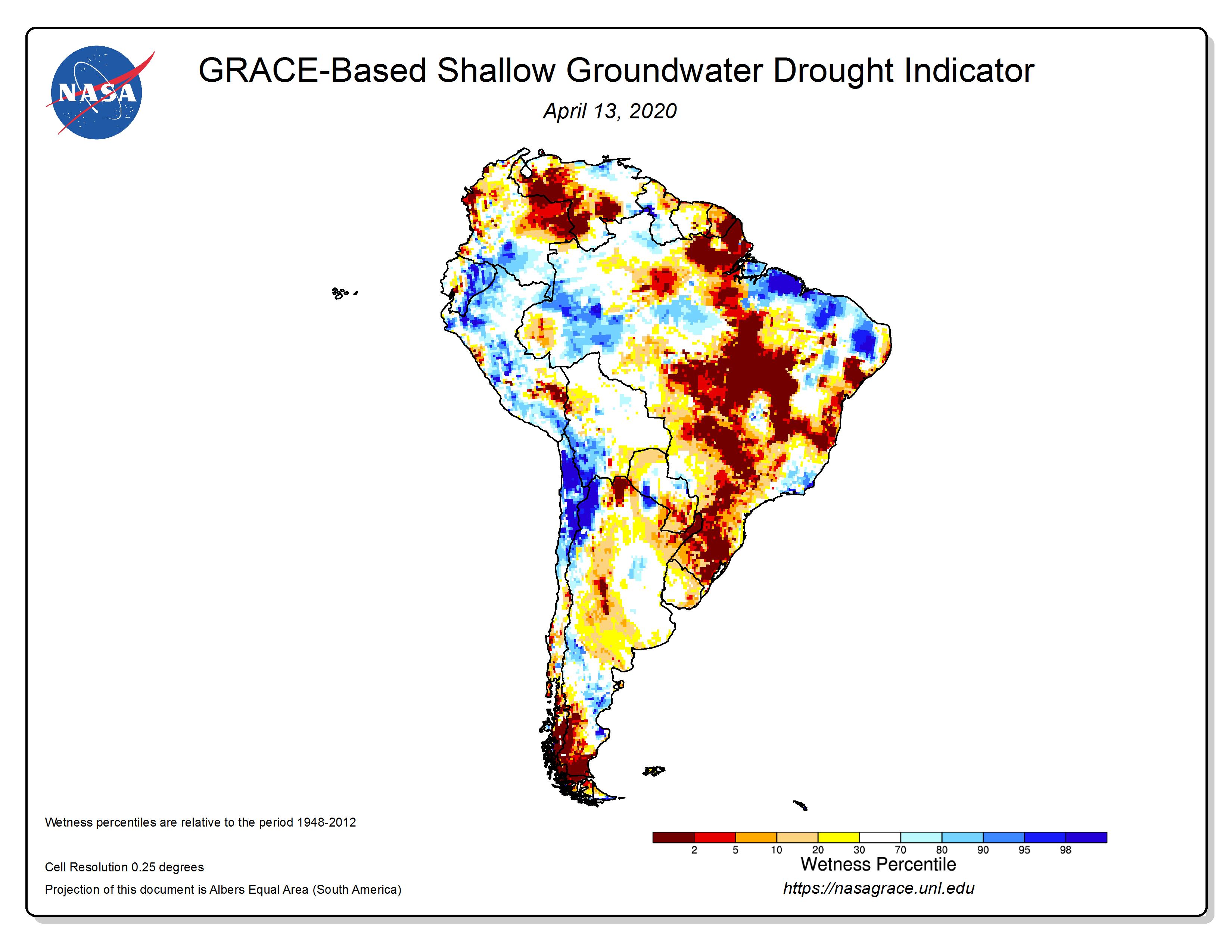 Dados dos satélites Grace, da NASA, mostram que o leste da Amazônia e o Cerrado têm muito menos águas subterrâneas armazenadas do que o normal. Dados dos aquíferos são usados para ajudar a prever secas globalmente. Imagem cortesia da NASA e do Centro Nacional dos Estados Unidos para Mitigação de Secas.