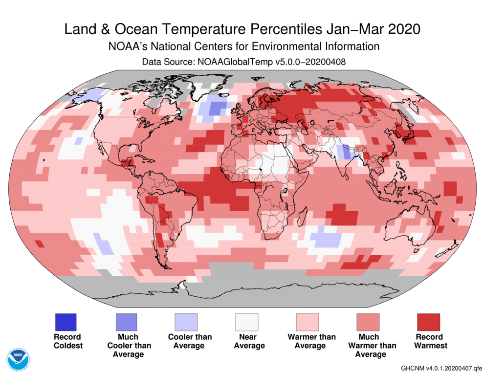Temperature records show the entire Amazon biome at temperatures much warmer than average from January to March of 2020. Map image by the United States National Center for Environmental Information