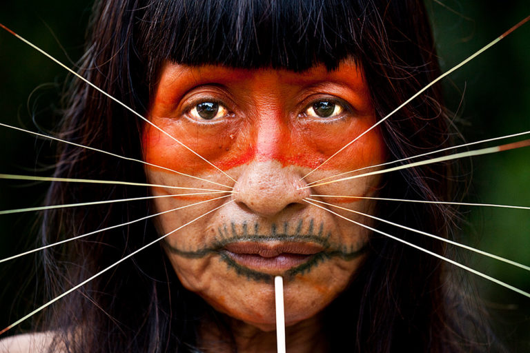 Matsés woman with traditional facial tattoos, piercings, and face paint. Photo: Alicia Fox