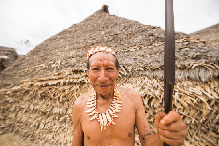 Nestor Bina, a Matsés elder, was involved in the peaceful and permanent contact the Matsés had with the outside world in 1969. Photo: Tui Anandi / Xapiri