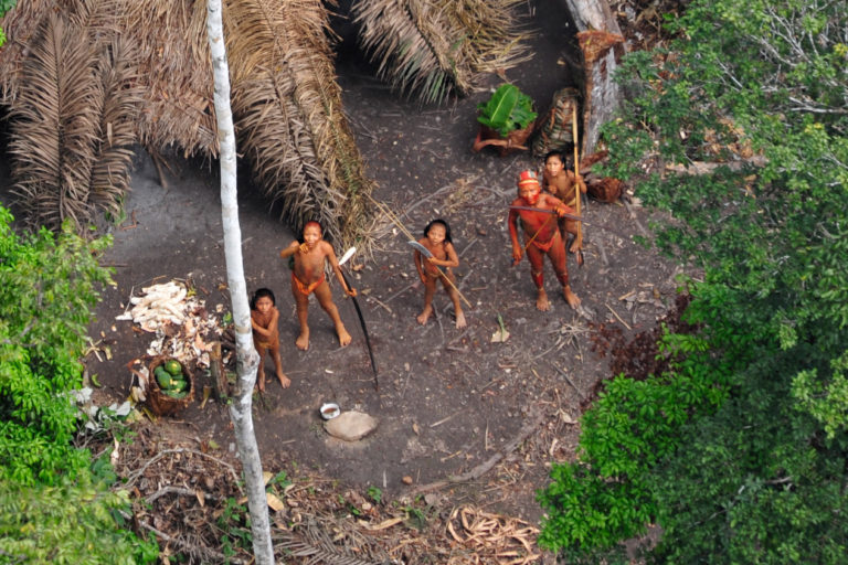 Uncontacted indigenous group in the Amazon photographed by authorities with the Brazilian Indian affairs agency FUNAI. Photo by Gleison Miranda-FUNAI.