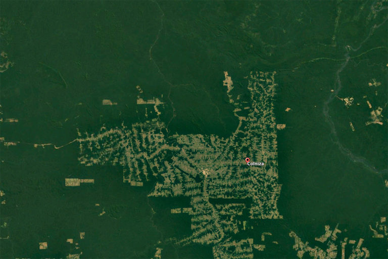 Landsat / Copernicus image on Google Earth showing deforestation in the Rio Pardo region of Mato Grosso, Brazil.