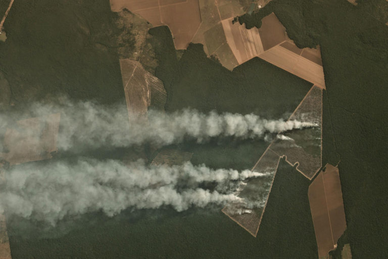 Planet images showing fire on recently deforested near Itaúba in the State of Mato Grosso, Brazil on June 29, 2020.