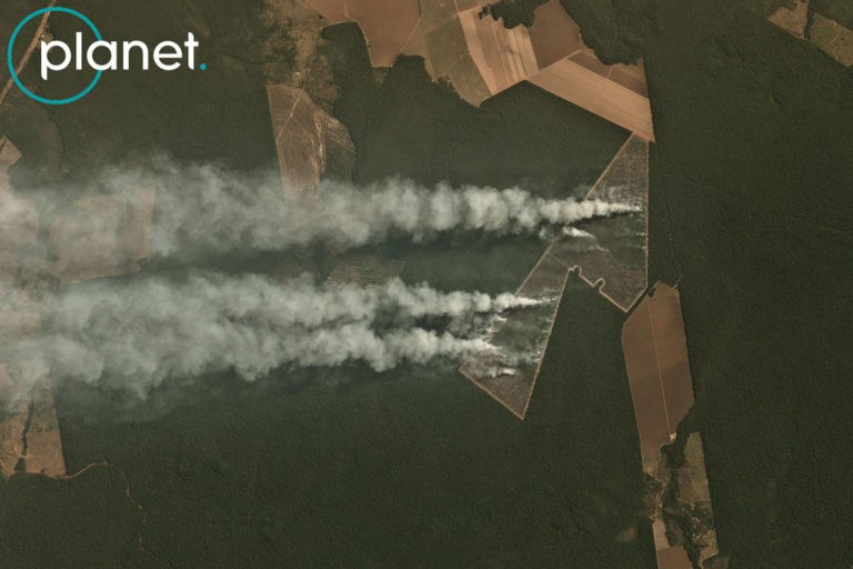 Planet image showing fire on recently deforested land near Itaúba in the State of Mato Grosso, Brazil on June 29, 2020. Fire identified by MAAP. Image courtesy of Planet.