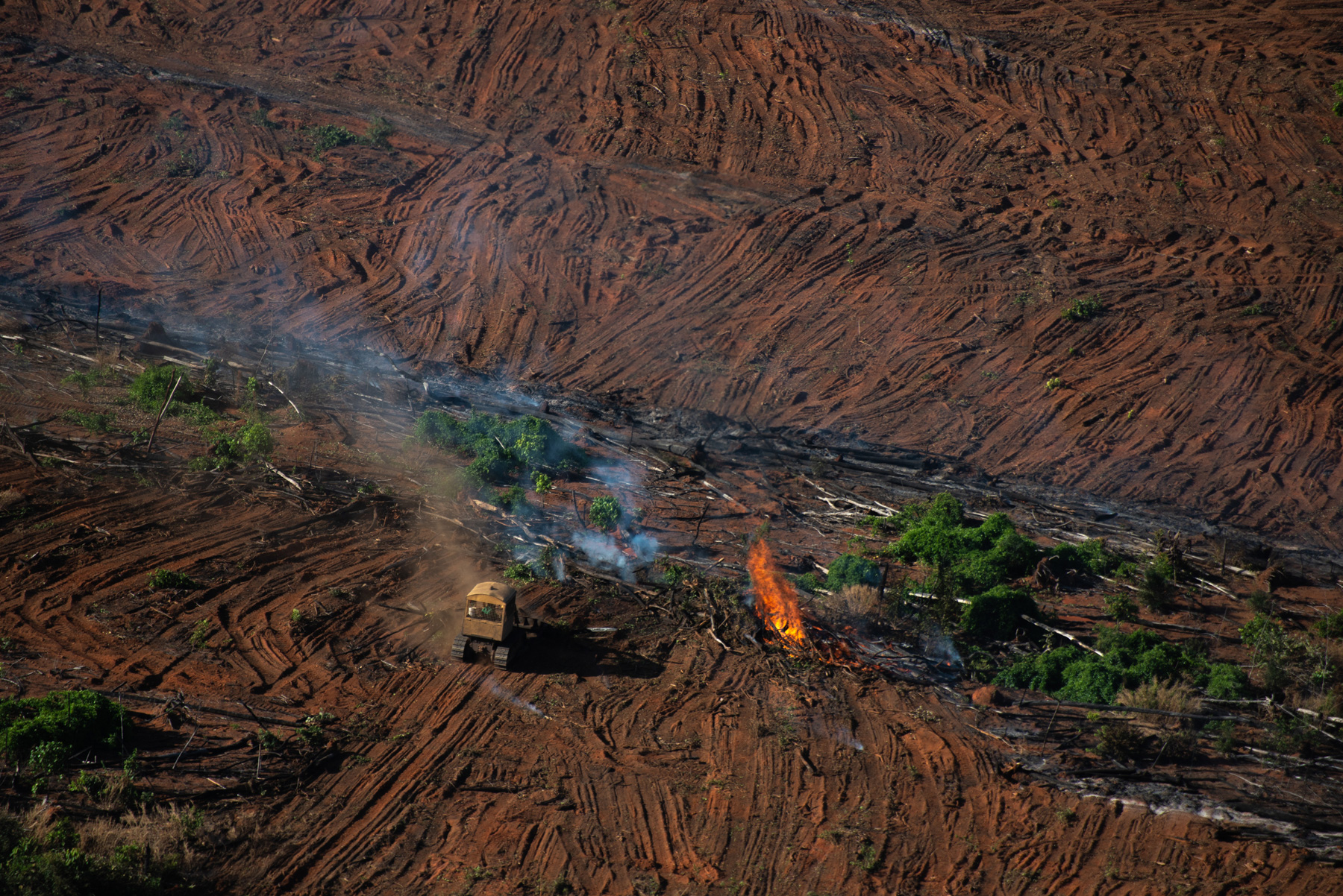 Forest remainders burning in an area registered by the last Prodes (Brazilian Amazon Satellite Monitoring Project), in Juara, Mato Grosso state. © Christian Braga / Greenpeace
