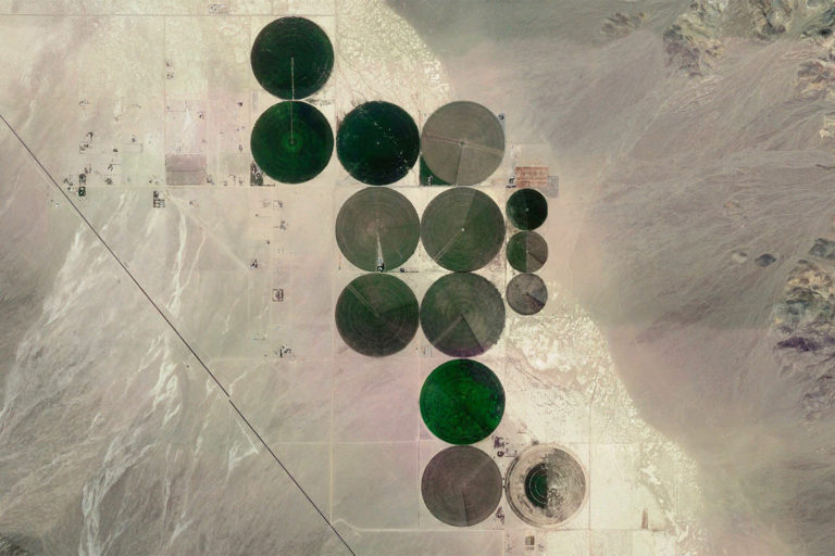 NASA Landsat image of agriculture in the Nevada desert.