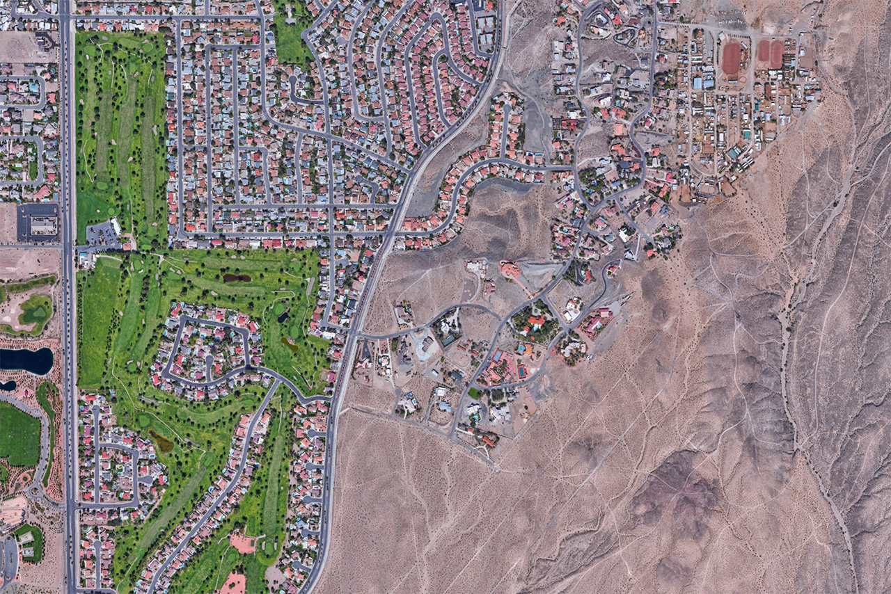 NASA Landsat image of suburban sprawl outside Henderson, Nevada.