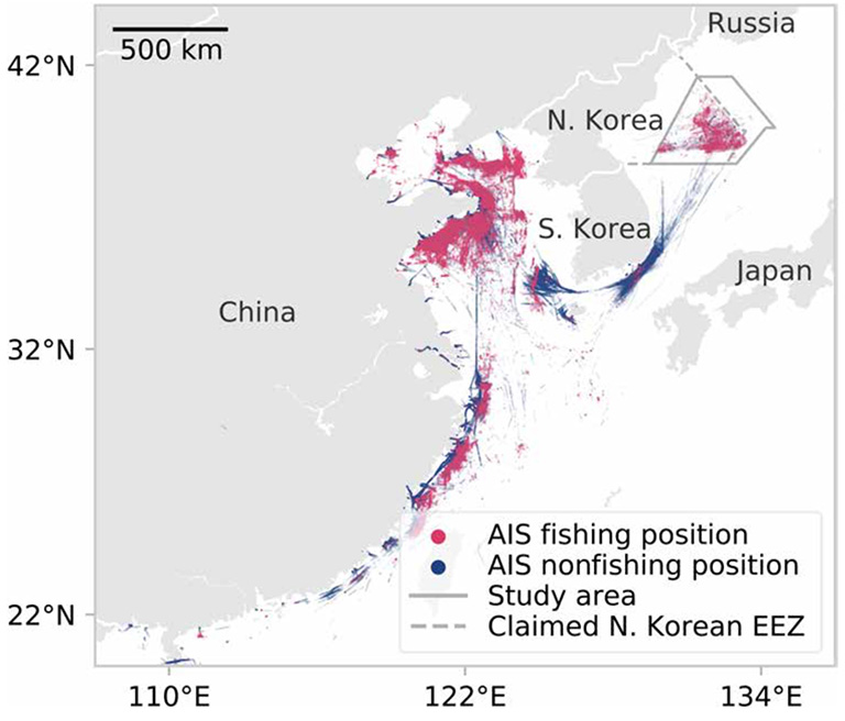 Origin of vessels fishing in North Korean waters. During 2017 and 2018, vessels that fished in North Korean waters originated from Chinese ports and also fished in Chinese waters. Included are all AIS positions broadcast by all vessels identified as likely fishing within the claimed North Korean EEZ.