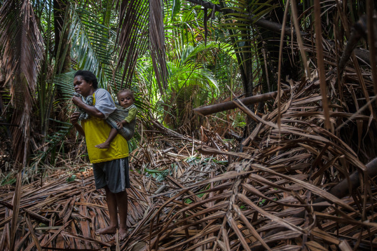 A Papuan mother carrying her daughter as she works inside the sago forest among Sira village, Teminabuan, South Sorong, West Papua. Credit line: © Jurnasyanto Sukarno / Greenpeace