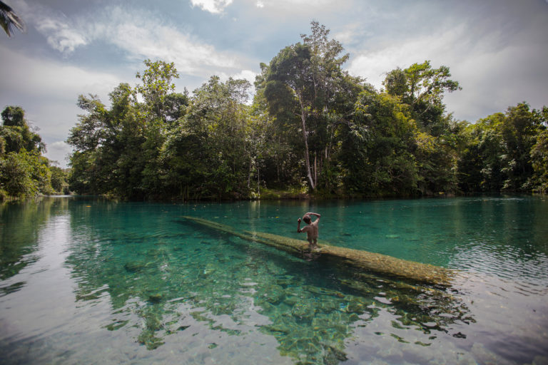 A Papuan boy in the Blue River (Kali Biru) of the Knasaimos landscape in Teminabuan, South Sorong, West Papua. Credit line: © Jurnasyanto Sukarno / Greenpeace