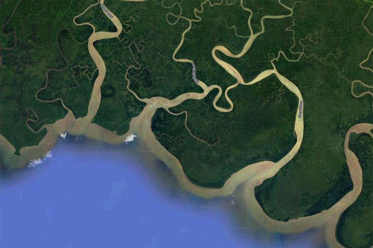 Google Earth image showing the Knasaimos landscape in South Sorong, West Papua. Credit line: © Jurnasyanto Sukarno / Greenpeace