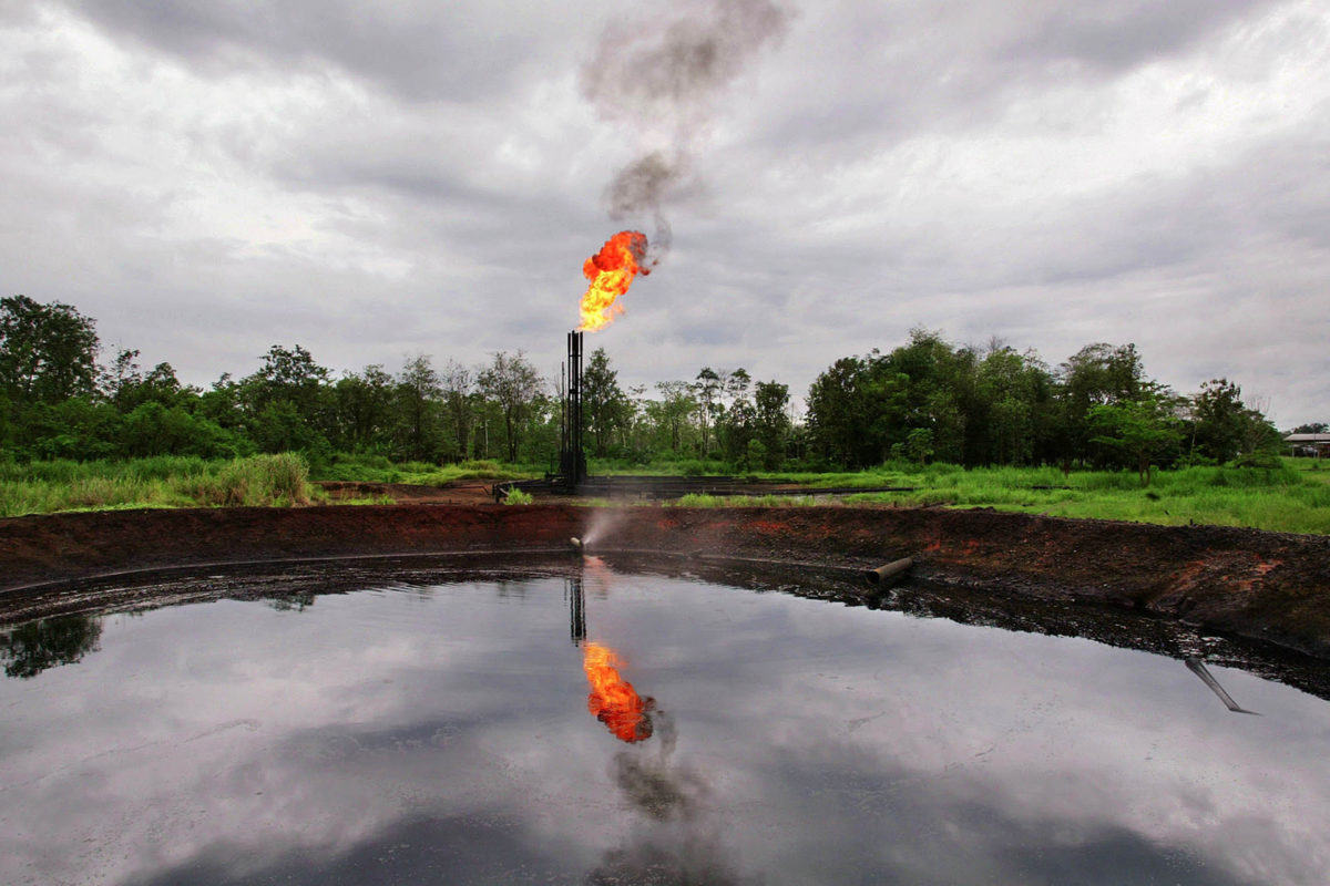 Gas flaring in the Ecuadorian Amazon in 2003. Photo by Lou Dematteis.