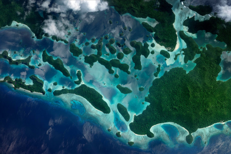 Wajag island in West Papua, Indonesia. Photo courtesy of Zoom.Earth.