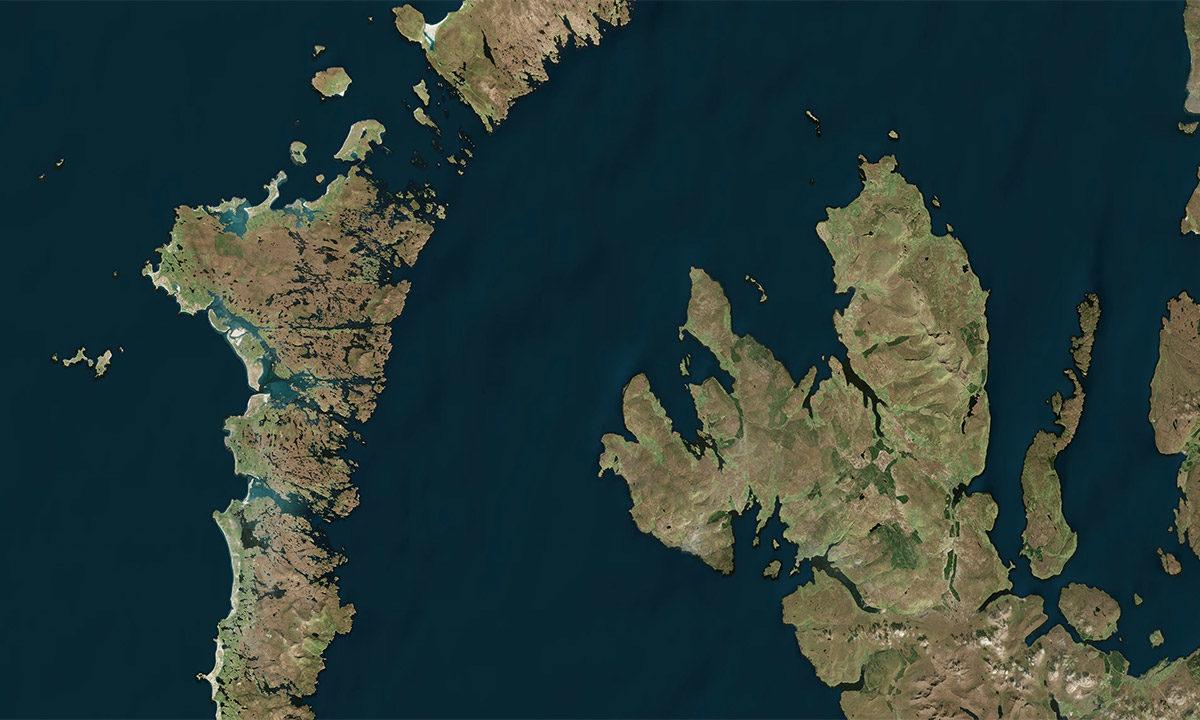 Microsoft Zoom Earth photo of Western Scotland.