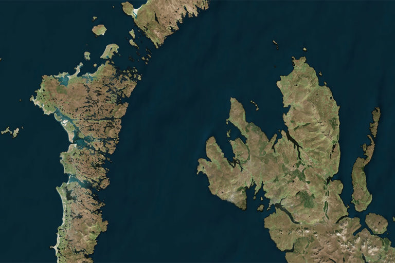 Microsoft Zoom Earth photo of Western Scotland.