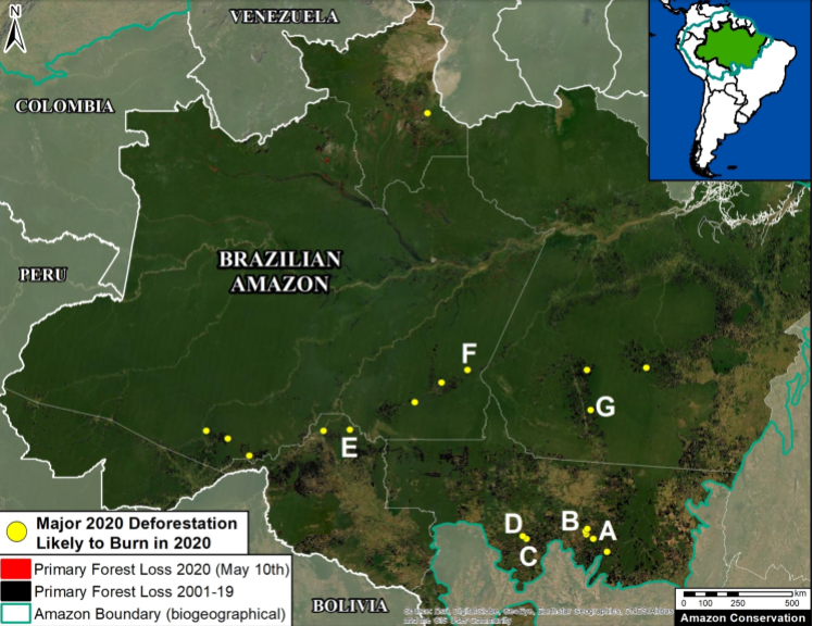 Major 2020 deforestation events (yellow dots) as predictors of 2020 fire events. Zones A, E, F and G have burned since June 2020. Data: Hansen/UMD/Google/USGS/NASA, UMD/GLAD, RAISG, MAAP. Image courtesy of MAAP.