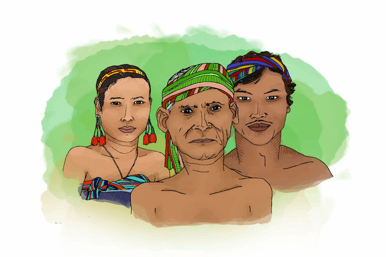 Many Bunong, a minority ethnic group indigenous to Cambodia, claim the sanctuary as their ancestral homeland. Illustration by Zoe Osborne for Mongabay.