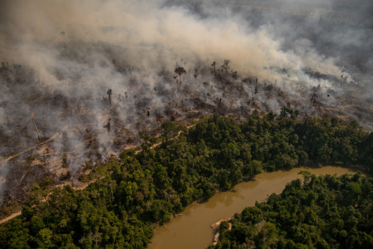 Fire near the Branco river in the Jaci-Paraná Extractive Reserve, in Porto Velho, Rondônia state. Taken 16 Aug, 2020. CREDIT: © Christian Braga / Greenpeace