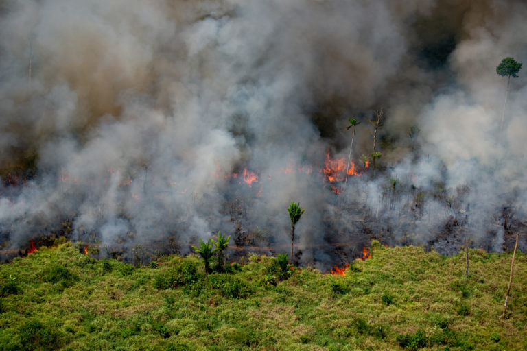 Heat spots in areas with Prodes warnings (2017-2019). Area next to the borders of the Kaxarari Idigenous Land, in Lábrea, Amazonas state. Taken 17 Aug, 2020. CREDIT: © Christian Braga / Greenpeace