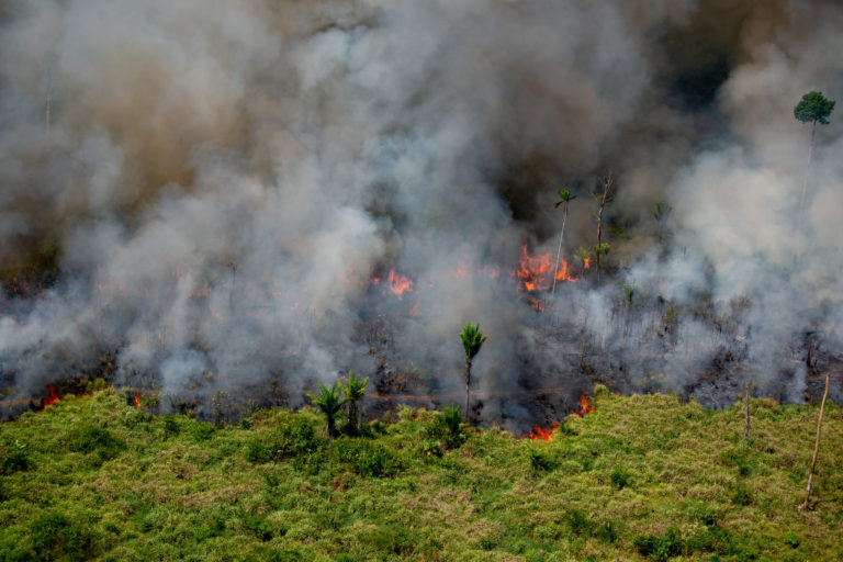 Heat spots in areas with Prodes warnings (2017-2019). Area next to the borders of the Kaxarari Idigenous Land, in Labrea, Amazonas state. Taken 17 Aug, 2020. CREDIT: Christian Braga / Greenpeace