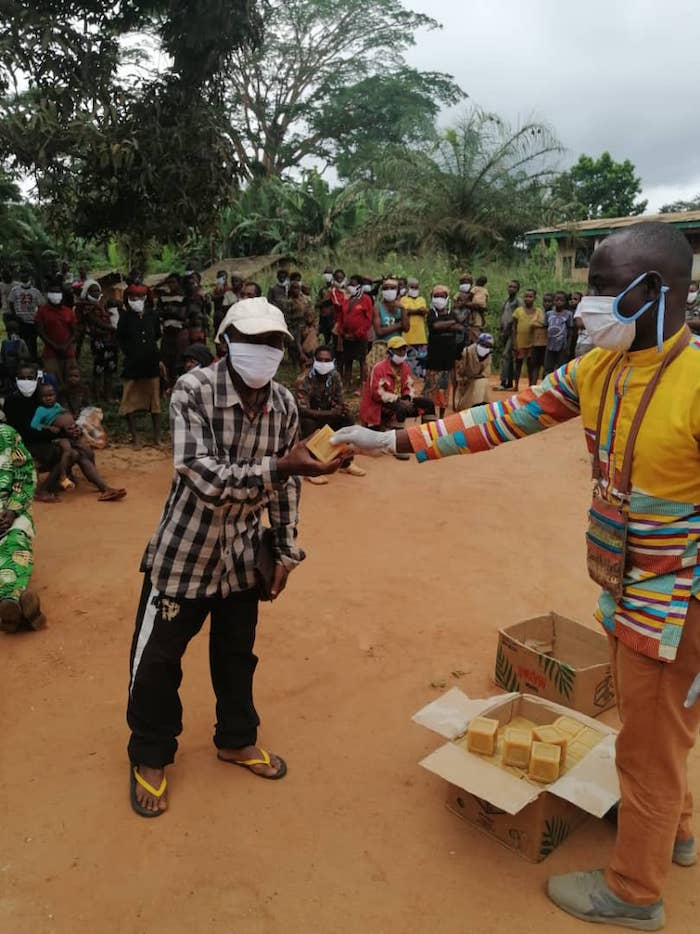 In Eastern Cameroon, Indigenous Baka communities from Mouangue le Bosquet ' village are receiving their prevention kits. June 2020. Image courtesy of OKANI