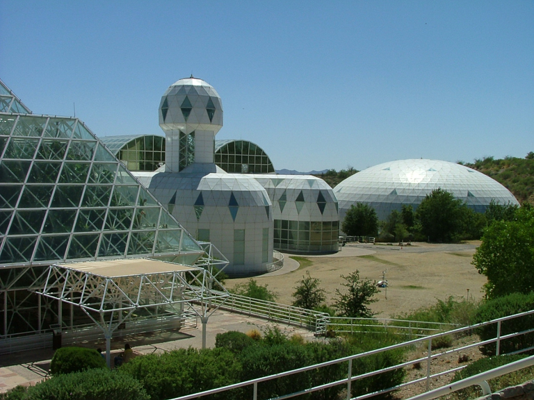 The habitat and lung of Biosphere 2. Image by DrStarbuck via Wikimedia Commons (CC BY 2.0).