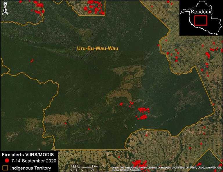 Deforestation and fire hotspots surround the Uru-Eu-Wau-Wau indigenous territory