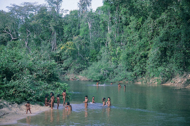 Iriri river with Panará children playing in it. The Iriri is the river Richard Mason and John Hemming tried to descend before Mason was killed. © John Hemming.