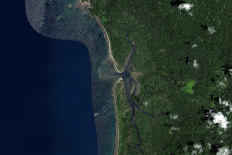 Satellite image of Tribugá, Colombia. Courtesy of Zoom.Earth.