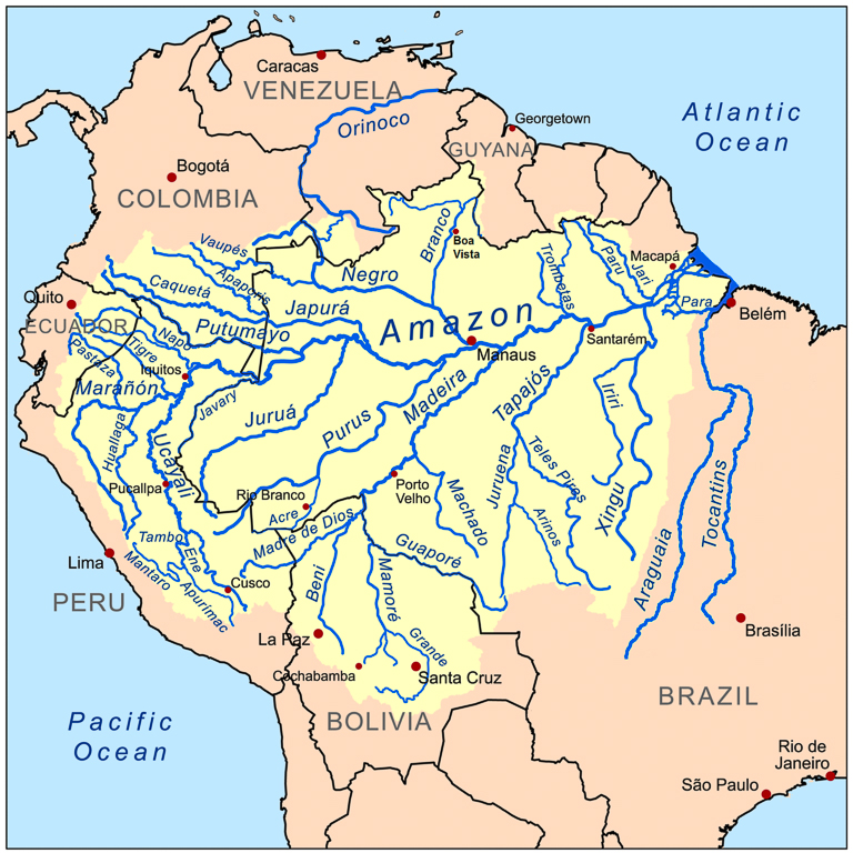 "A map of the Amazon Basin. Image by Kmusser via <a href=""https://commons.wikimedia.org/wiki/File:Amazonriverbasin_basemap.png"">Wikimedia Commons</a> (<a href=""https://creativecommons.org/licenses/by-sa/3.0"">CC BY-SA</a>)."