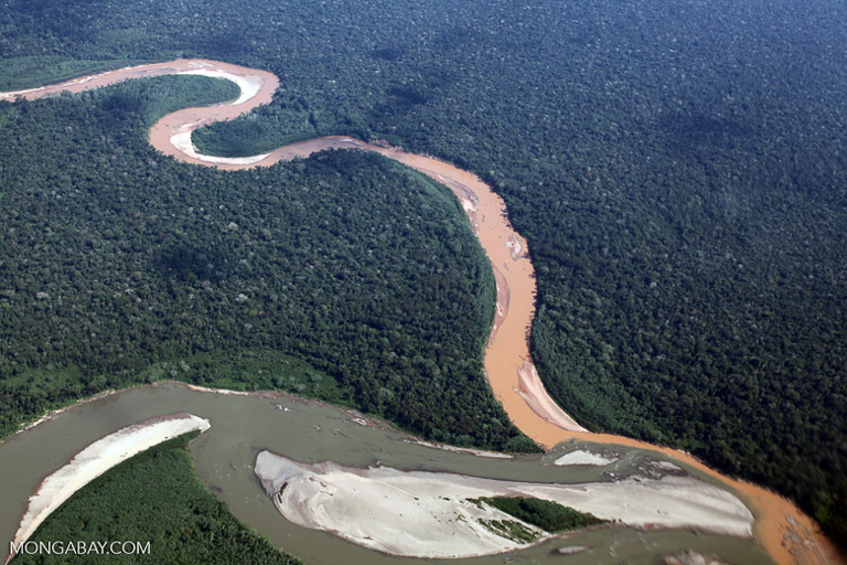 River polluted with mine tailings in the Amazon rainforest. Image by Rhett A. Butler/Mongabay.