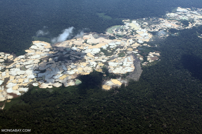 Amazon landscape scarred by open pit gold mining. Image by Rhett A. Butler/Mongabay.