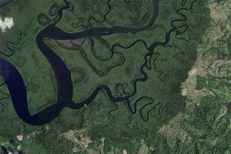 Terraba Sierpe National Wetlands in Puntarenas Province, Costa Rica in 2012. © Zoom.Earth.
