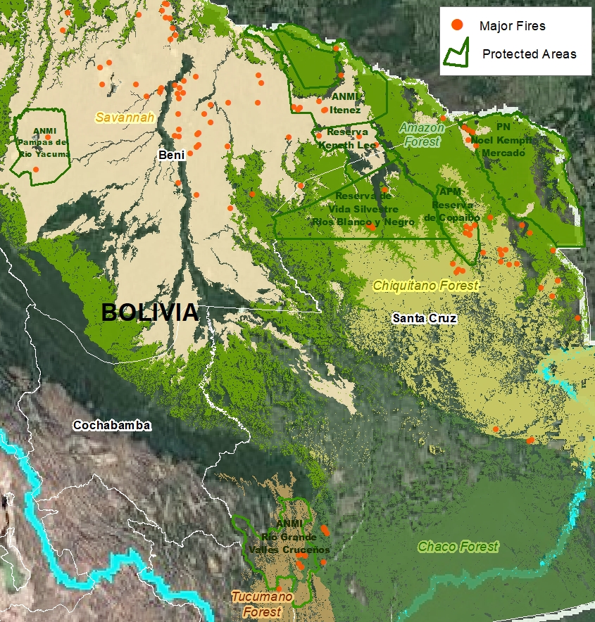 Major Fires in Protected Areas of the Bolivian Amazon in 2020. Data: MAAP/ACEAA.
