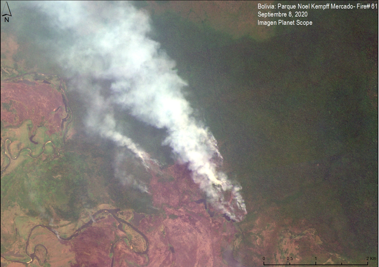 Satellite image of a major fire in the extreme northwest of Noel Kempff Mercado National Park burning in the transition between Amazon forest and savanna on Sept 8, 2020. Data from Planet. Image courtesy of MAAP.