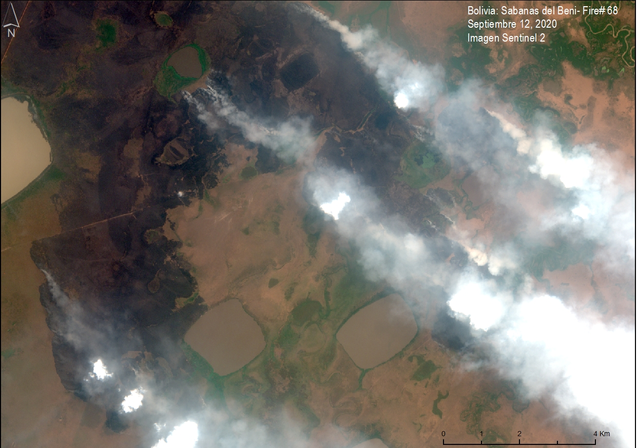 Satellite image of a major fire in the savannas of Beni on September 12, 2020. Data from Planet. Image courtesy of MAAP.