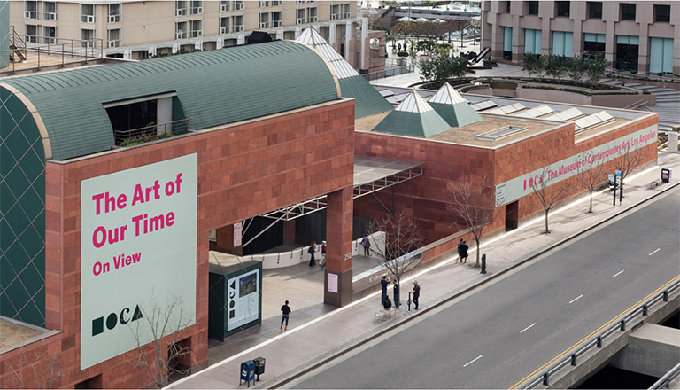 The Museum of Contemporary Art as seen from Grand Ave. Photo by Elon Schoenholz.